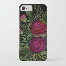 A bouquet of roses on a black background . iPhone Case