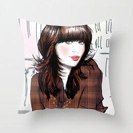 Zooey Deschanel Throw Pillow