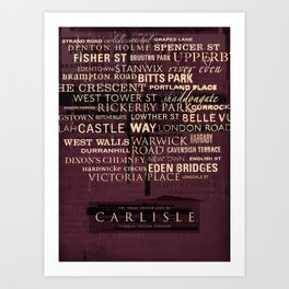 """Carlisle, United Kingdom"" Graphic Typographic Print Art Print"