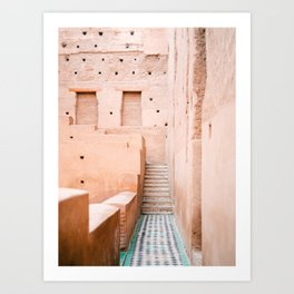 Colors of Marrakech Morocco - El badi palace photo print | Pastel travel photography art Art Print