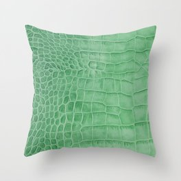 Croco leather effect - green Throw Pillow