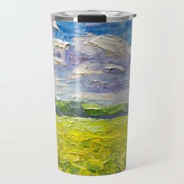 Original Oil and palette knife  painting on paper: The endless summer field of yellow flowers. Travel Mug