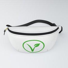 Universal vegetarian symbol- The V-label- V with a leaf. Vegetarian Fanny Pack