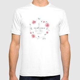 He Restores My Soul. Psalm 23:3, bible verse, watercolor flowers T-shirt