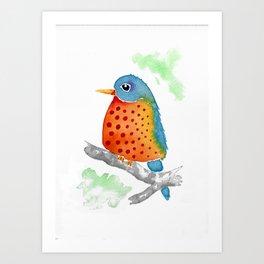 Polka Dot Bluebird Art Print