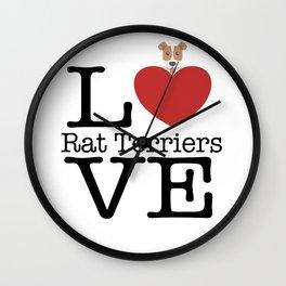 Love Cute Rat Terriers Wall Clock