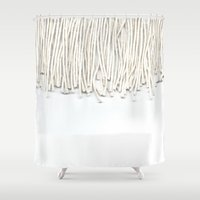 fringe Shower Curtains featuring Fringe by Caitlin Workman