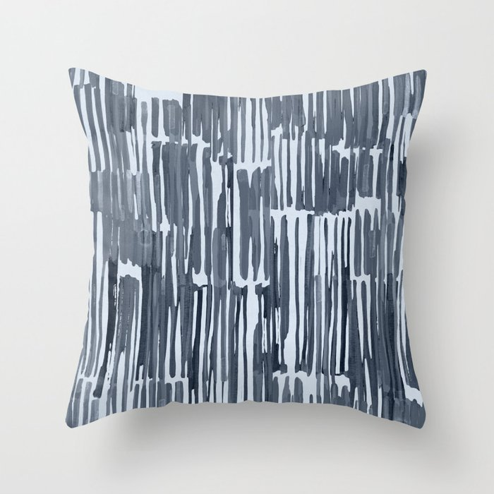 Simply Bamboo Brushstroke Indigo Blue on Sky Blue Throw Pillow