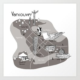 Mapping Vancouver - Grey Art Print