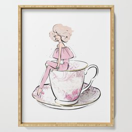 Girl in floral cup of tea Serving Tray