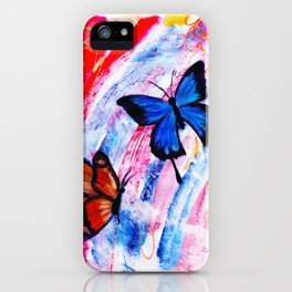 Rainbow Butterflies on Abstract Background iPhone Case