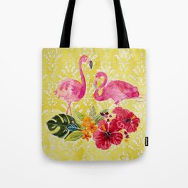 Flamingos On Damask Pattern Tote Bag