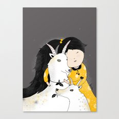 Capricia with Goats Canvas Print