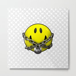 Quit Your Grinning / 3D chained up smiley Metal Print