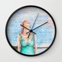 Relax abstract woman oil on canvas Wall Clock
