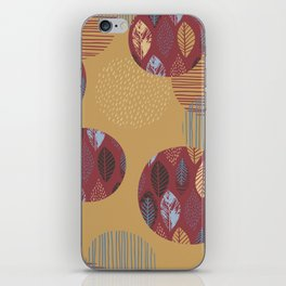 Geometrical brown blue burgundy hand painted autumn leaves iPhone Skin