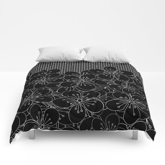 Cherry Blossom Grid Black Comforters