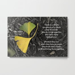 Gingko Leaves Divided Metal Print