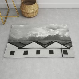Geometric Architecture in Black and White Rug