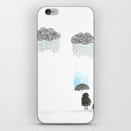 Old lady and the rain iPhone Skin