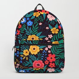 25 Amazing floral pattern with bright colorful flowers. Dark background. Backpack