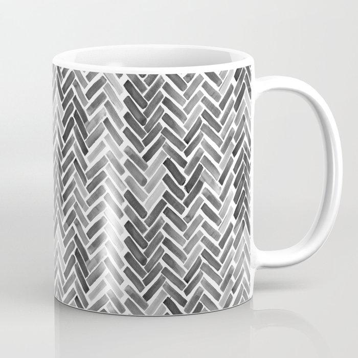 Black Watercolor Herringbone Coffee Mug