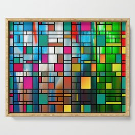 Abstract Modern Art Grid Pattern Serving Tray