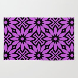 Purple/Black Flower Pattern Rug