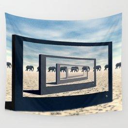 Surreal Elephant Desert Scene Wall Tapestry