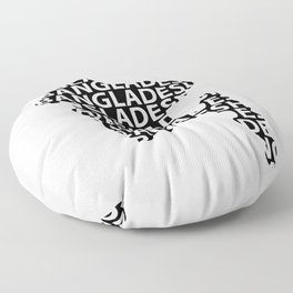 Map of Bangladesh with typography- International mother language day Floor Pillow