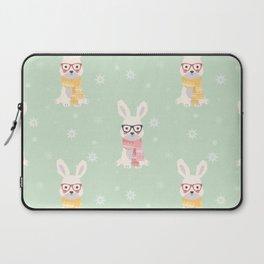 White rabbit Christmas pattern 001 Laptop Sleeve