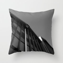 black and white building abstract Throw Pillow
