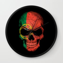 Dark Skull with Flag of Portugal Wall Clock