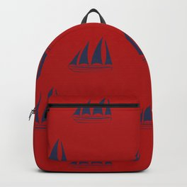 Navy blue Sailboat Pattern on red background Backpack