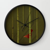 red hood Wall Clocks featuring Little Red Ridding Hood by Christian Jackson