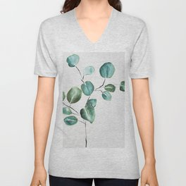 Eucalyptus leaves, illustration, botanical Unisex V-Neck