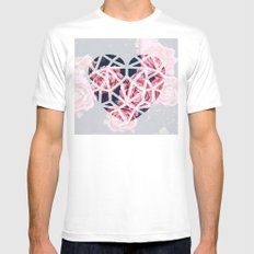 heart roses Mens Fitted Tee MEDIUM White