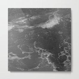 Ocean Waves In Monochrome Metal Print
