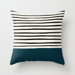 Dark Teal x Stripes Throw Pillow