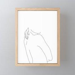 Hand on back line drawing - Isla Framed Mini Art Print