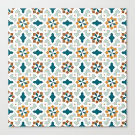 Geometric Pattern, oriental style (nature color set)  traditional morocco tile pattern Canvas Print