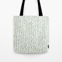 Light green herringbone pattern with cream stripes Tote Bag
