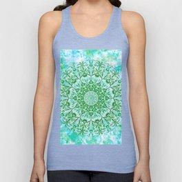 Ocean Aqua Blue Watercolor Mandala , Relaxation & Meditation Turquoise Flower Circle Pattern Unisex Tank Top