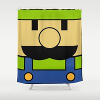 luigi Shower Curtains featuring Minimal Luigi by pruine