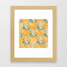 Cute Little Llama Yellow Pattern Framed Art Print