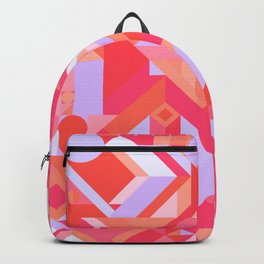 GEOMETRY SHAPES PATTERN PRINT (WARM RED LAVENDER COLOR SCHEME) Backpack