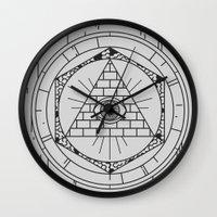 illuminati Wall Clocks featuring Illuminati by Joao Paulo Cruz