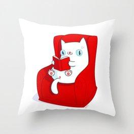 Kitty Loves Reading Throw Pillow