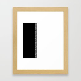 Greek Key 2 - White and Black Framed Art Print