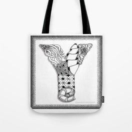 Zentangle Y Monogram Alphabet Initial Tote Bag